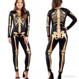 NWT Tipsy Elves Gold Skeleton Bodysuit M Women's
